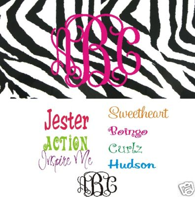 Zebra print - black and white monogrammed car tag