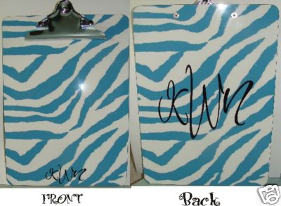 Turquoise & White Zebra Clipboard--Monogrammed Personalized